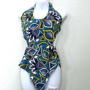 NWOT Aerie Floral Halter Tie Back Cut Out Teal XL